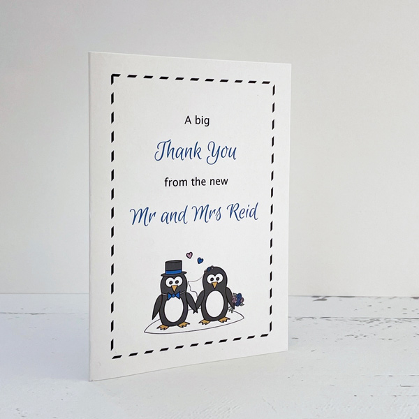 penguin themed wedding card
