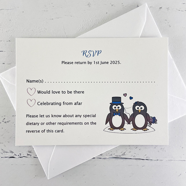 penguin themed wedding invitation rsvp packs