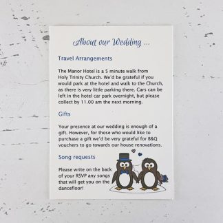penguin wedding information card