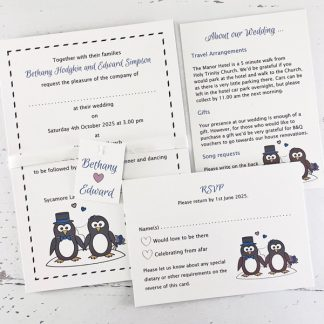 penguin wedding invitation with rsvp