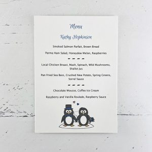 penguin wedding menu card