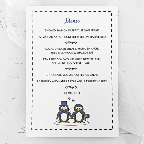 penguin wedding menu card