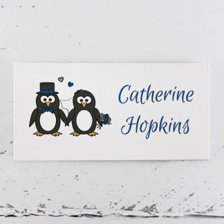 penguin wedding place card