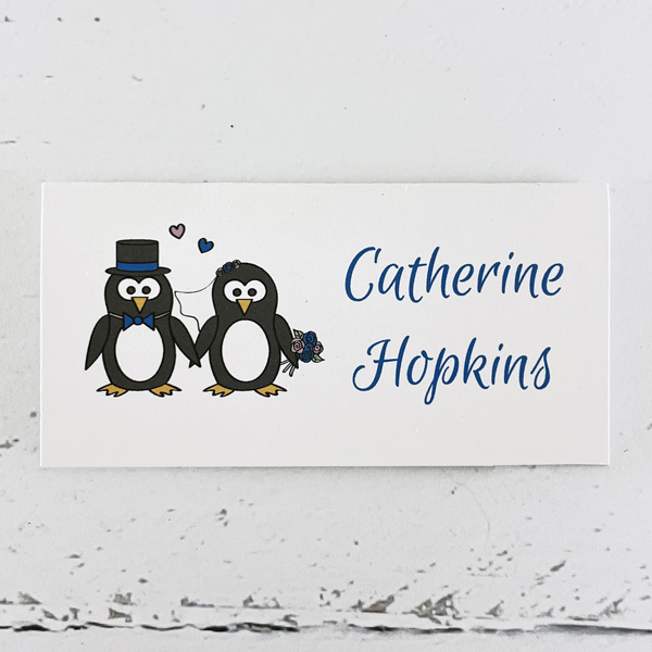 penguin wedding place card