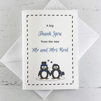 penguin wedding thank you card