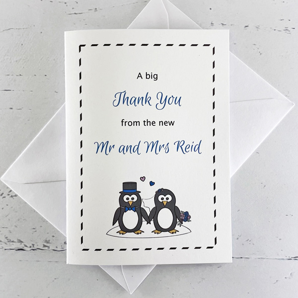 penguin wedding thank you card