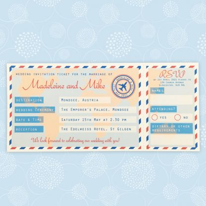 personalised plane ticket invitations