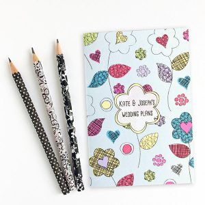 personalised wedding themed notebook flower power