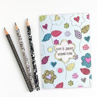 personalised wedding themed notebook flower power