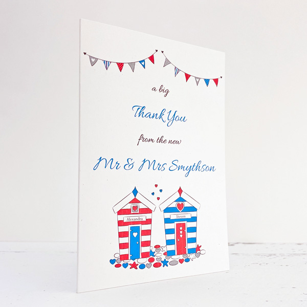 seaside themed wedding thank you card