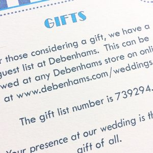 ticket style wedding guest information