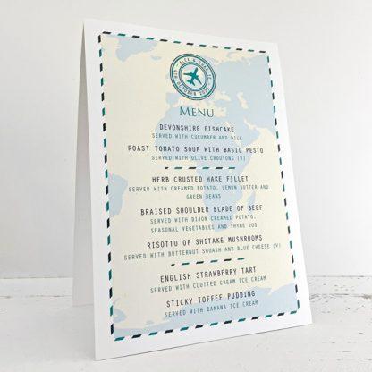 travel design wedding menu cards