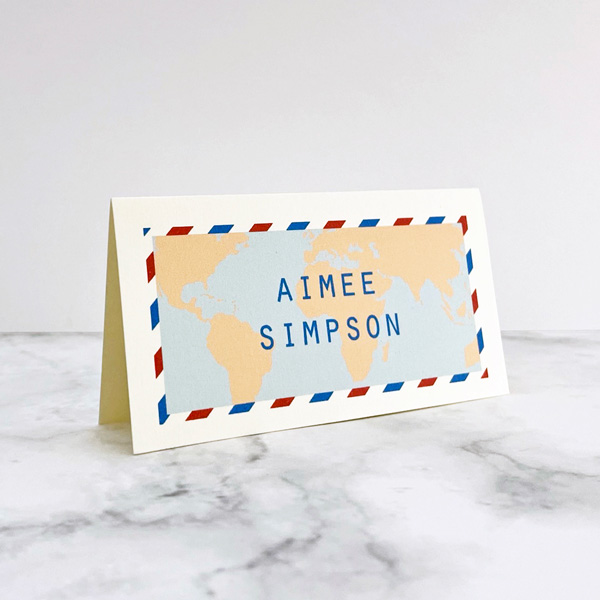 travel design wedding place name cards