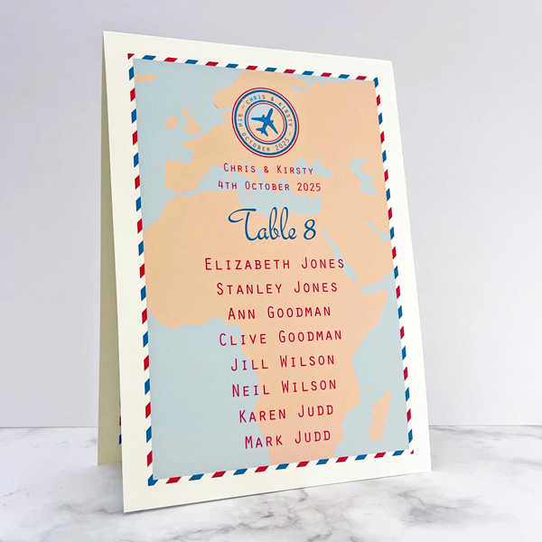 travel design wedding table numbers