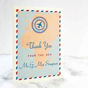travel design wedding thank you cards