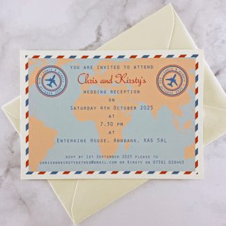 travel evening wedding invitation