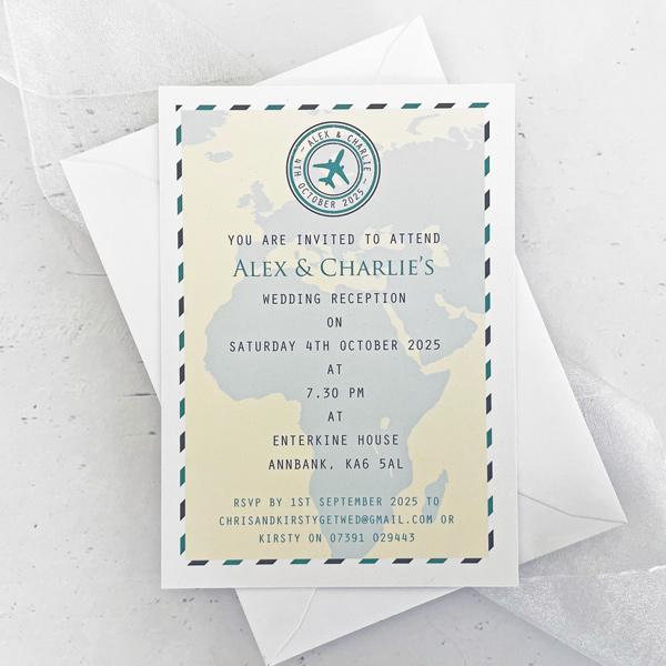 travel evening wedding invitation
