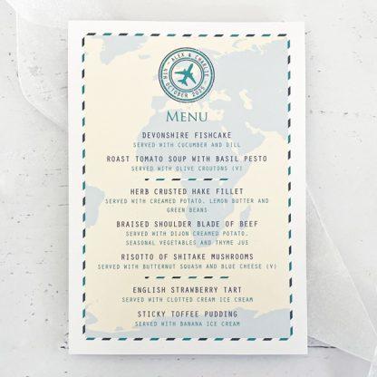 travel themed wedding menu