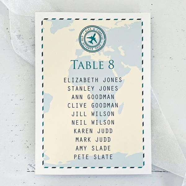 travel themed wedding table name
