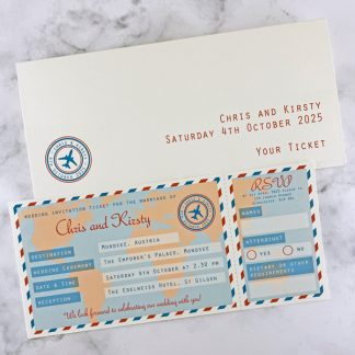 travel ticket themed wedding invitation
