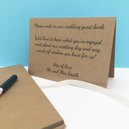wedding guest book instruction card