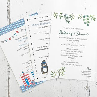 Wedding invitation RSVP sets