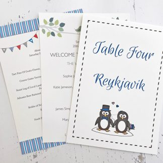 Wedding reception stationery
