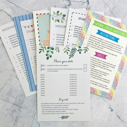 wedding speech sweepstake cards