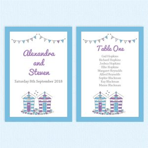 wedding table plan cards beach hut