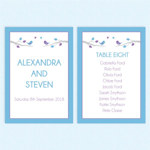 wedding table plan cards bird