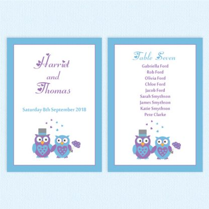 wedding table plan cards owl
