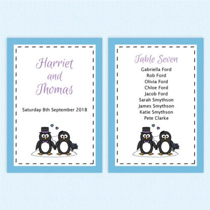 wedding table plan cards penguin