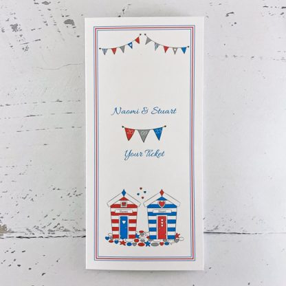wedding ticket invitations beach hut