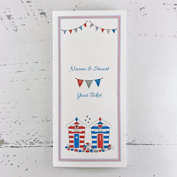 wedding ticket invitations beach hut