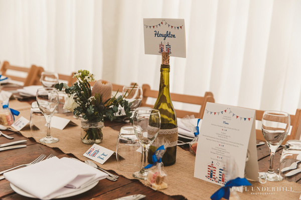 beach hut wedding table number