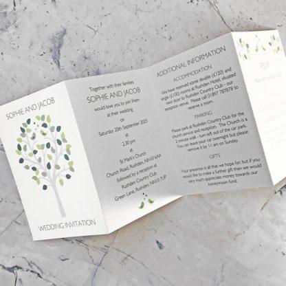 bird concertina wedding invitation