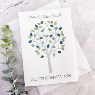 bird concertina style wedding invitation