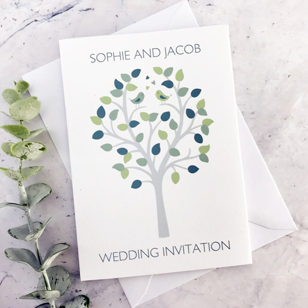 bird concertina style wedding invitation