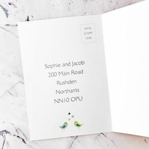 birds in trees concertina invitations