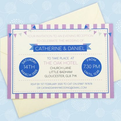 circus festival evening wedding invitation