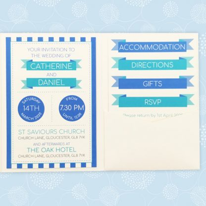 circus festival pocketfold style wedding invitation