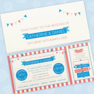 circus festival ticket wedding invitation