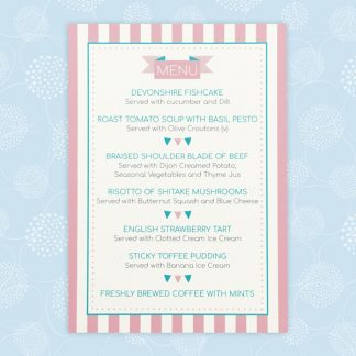 circus festival wedding menu