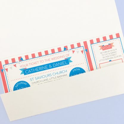 circus festival wedding ticket in wallet