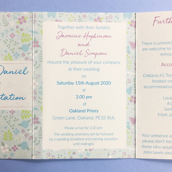 concertina wedding invitation panel