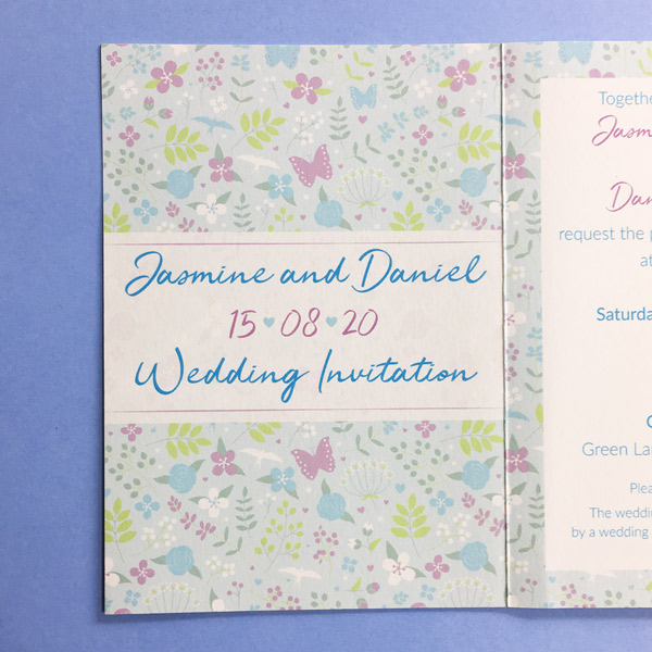 concertina wedding invitation front