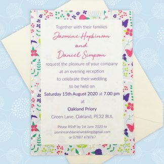 merry meadow flowers evening wedding invitation