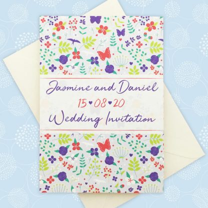 merry meadow flowers concertina invitation