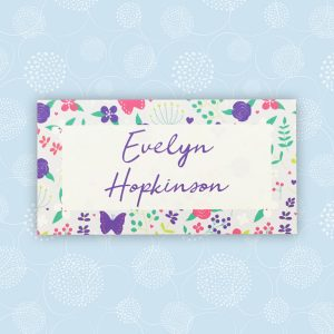 merry meadow flowers wedding place name card