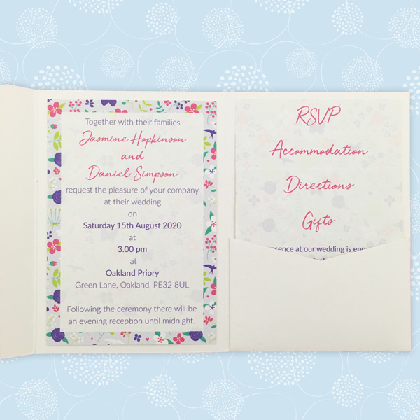 merry meadow flowers pocketfold wedding invite
